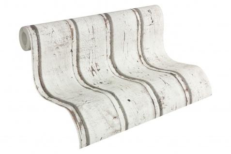 Vlies Tapete Antik Holz rustikal creme weiß braun grau bretter verwittert Natur