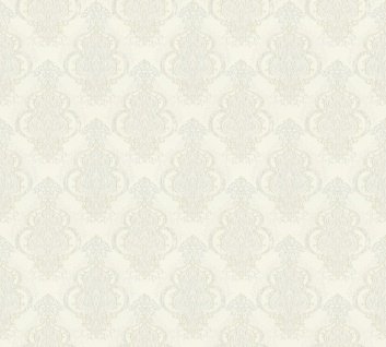 Vliestapete Barock Ornament creme weiß metallic Großrolle 10, 05 x 1, 06 m 36453-5