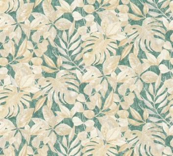 Vliestapete Floral Blätter Glitzer grün creme Großrolle 10, 05 x 1, 06 m 36324-2