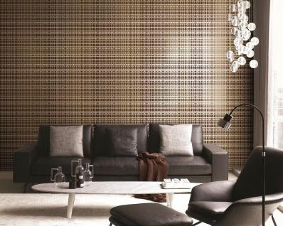 Vlies Tapete Karo Muster orange türkis braun gold metallic Textil Optik - Vorschau 3