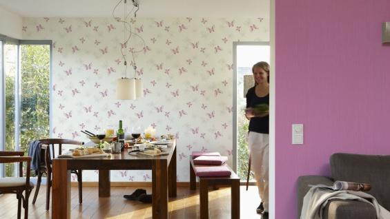 Vlies Tapete Schmetterlinge creme weiß lila pink flieder grau Girls - Vorschau 3