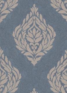 Vliestapete Carat Barock Ornament blau grau gold Glitzer 10060-44 / 1006044 - Vorschau 2