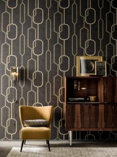 Vliestapete grafisches Retro Muster geometrisch schwarz braun gold Palila 363142