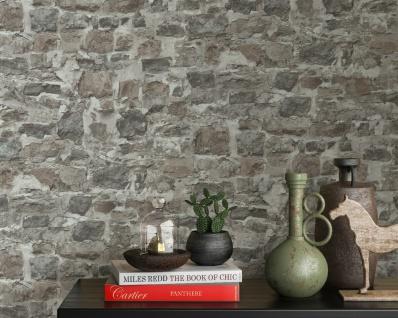 Vlies Tapete Bruchstein Mauer Naturstein brick braun grau 10092-02