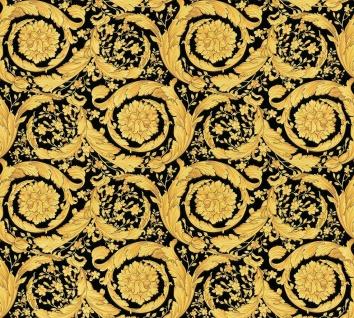 Versace 4 Vlies Tapete Federn Kreis Ornament schwarz gold metallic 935834