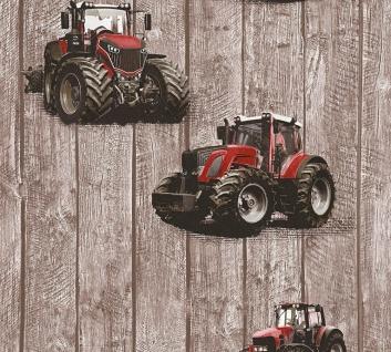 Kinder Vliestapete Traktor Trecker Holz Muster braun rot 35840-1 Jungen Tapete