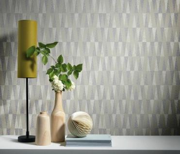 Vliestapete Carat stilvolle Dreiecke beige silber grau glänzend 10061-02
