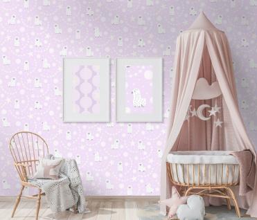 Vlies Tapete Baby Lamas Sterne glitzer weiß rosa Struktur Kinder 10161-05