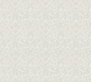 Vliestapete Ranken Barock creme grau metallic Großrolle 10, 05 x 1, 06 m 36388-3