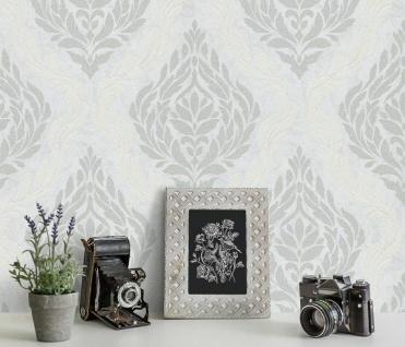Vliestapete Carat Barock Ornament weiß silber grau Glitzer 10060-31 / 1006031