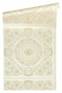 Versace 4 Vlies Tapete Florales Ornament Kacheln weiß creme metallic 370551