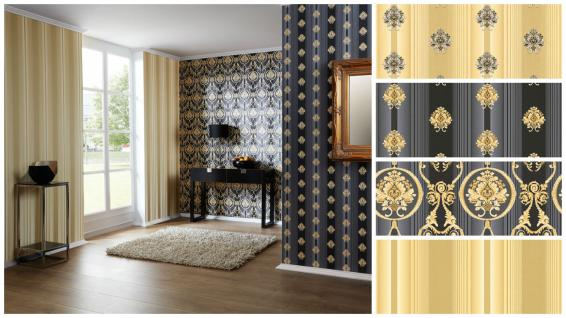Luxus Vliestapete Barock Streifen Kombi schwarz gold metallic glanz Klassisch