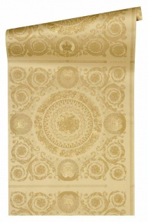 Versace 4 Vlies Tapete Florales Ornament Kacheln gelb gold metallic 370554