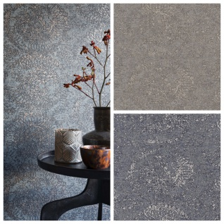 Vlies Tapete Textil Optik Ornamentale Kreise braun grau blau metallic Bazar