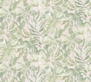 Vliestapete Floral Blätter Glitzer grün rosa Großrolle 10, 05 x 1, 06 m 36324-1