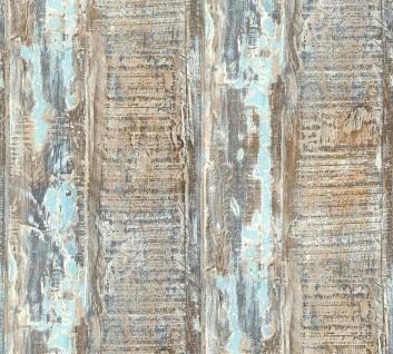 Vliestapete maritime Holz Optik verwittert blau türkis beige 35413-1 Côte d`Azur