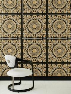 Versace Vliestapete Florales Ornament Kacheln schwarz beige gold metallic 370553