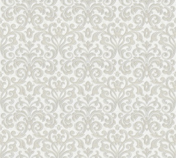 Vliestapete Ranken Barock creme weiß metallic Großrolle 10, 05 x 1, 06 m 36388-2
