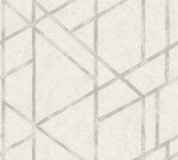 moderne Geometrische Stein Beton Muster Vliestapete weiß silber metallic 36928-5