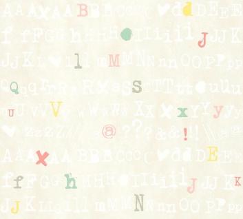 Vlies Tapete Buchstaben Schrift Satzzeichen Alphabet creme bunt Cozz 36298-2