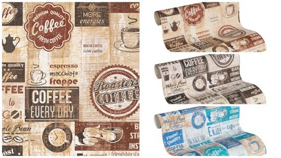 Papier Küchen Tapete Kaffe Coffee Cafe creme beige terra braun weiß türkis blau