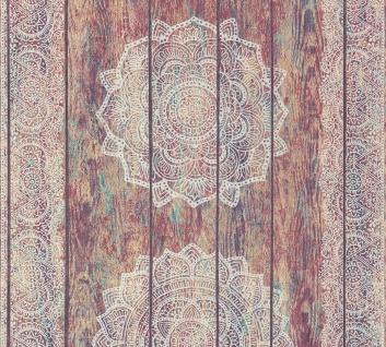 Vliestapete Mandala Ornament Holz Paneel Optik bunt grau Boho Love 36462-1