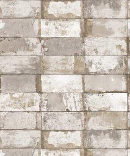 Vlies Tapete Stein Fliesen Riemchen Klinker creme grau gold metallic verwittert