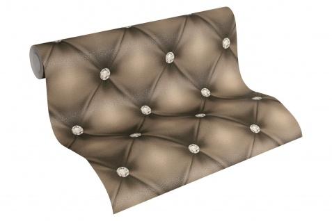 Luxus Vliestapete Leder Optik Chesterfield Diamant braun 34144-2 Hermitage
