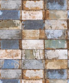 Vlies Tapete Stein Fliesen Riemchen Klinker beige blau gold metallic verwittert