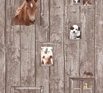 Kinder Vliestapete Bauernhof Tiere Holz braun 35842-2 Pferde Hunde Schafe