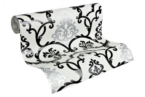 Vlies Tapete Barock Muster Ornament schwarz weiß silber glanz effekt klassisch