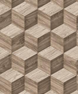 Vlies Tapete 3D effekt Illusion Holzwürfel Wood Cubes beige braun grau NF232122