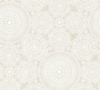 Vlies Tapete Blumen Kreise Mandala beige weiß Cozz 36295-3