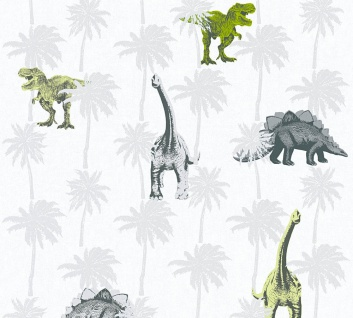 Kinder Vliestapete Dinosaurier Dinos T-Rex weiß grau grün 35835-2