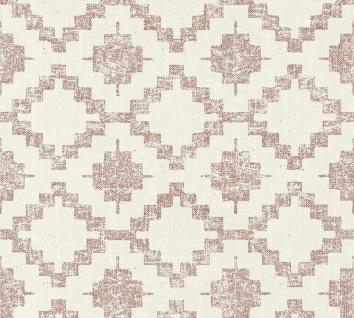 Vlies Tapete Rauten Ethno Kelim Textil Optik rot creme California 36375-3