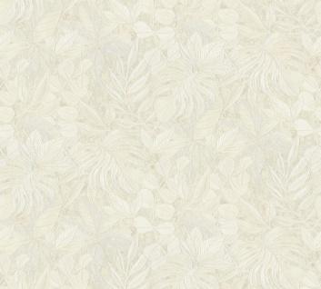 Vliestapete Floral Blätter Glitzer creme Großrolle 10, 05 x 1, 06 m 36324-4 Aloha