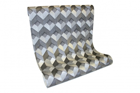 Vlies Tapete 3D effekt Würfel Cubes Rauten metallic anthrazit silber DE120133