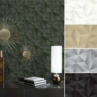 Vlies Tapete Design 3D Optik metallic schimmernd weiß gold silber schwarz