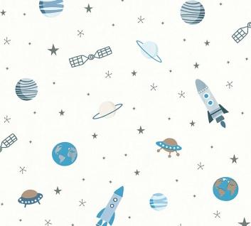 Esprit Kids 5 Weltraum Tapete weiß blau metallic Raumschiff Rakete Erde 35828-1