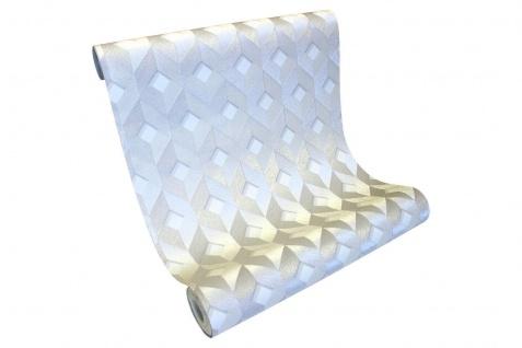 Vlies Tapete 3D effekt Würfel Cubes Rauten metallic weiß silber DE120131