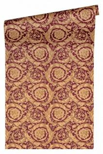 Versace 4 Vlies Tapete Federn Ranken Kreis Ornament rot beige metallic 366927