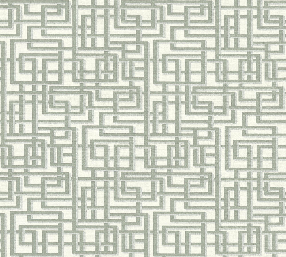 Labyrinth Muster Grafik Retro Vlies Tapete grau weiß Palila 363121 ...