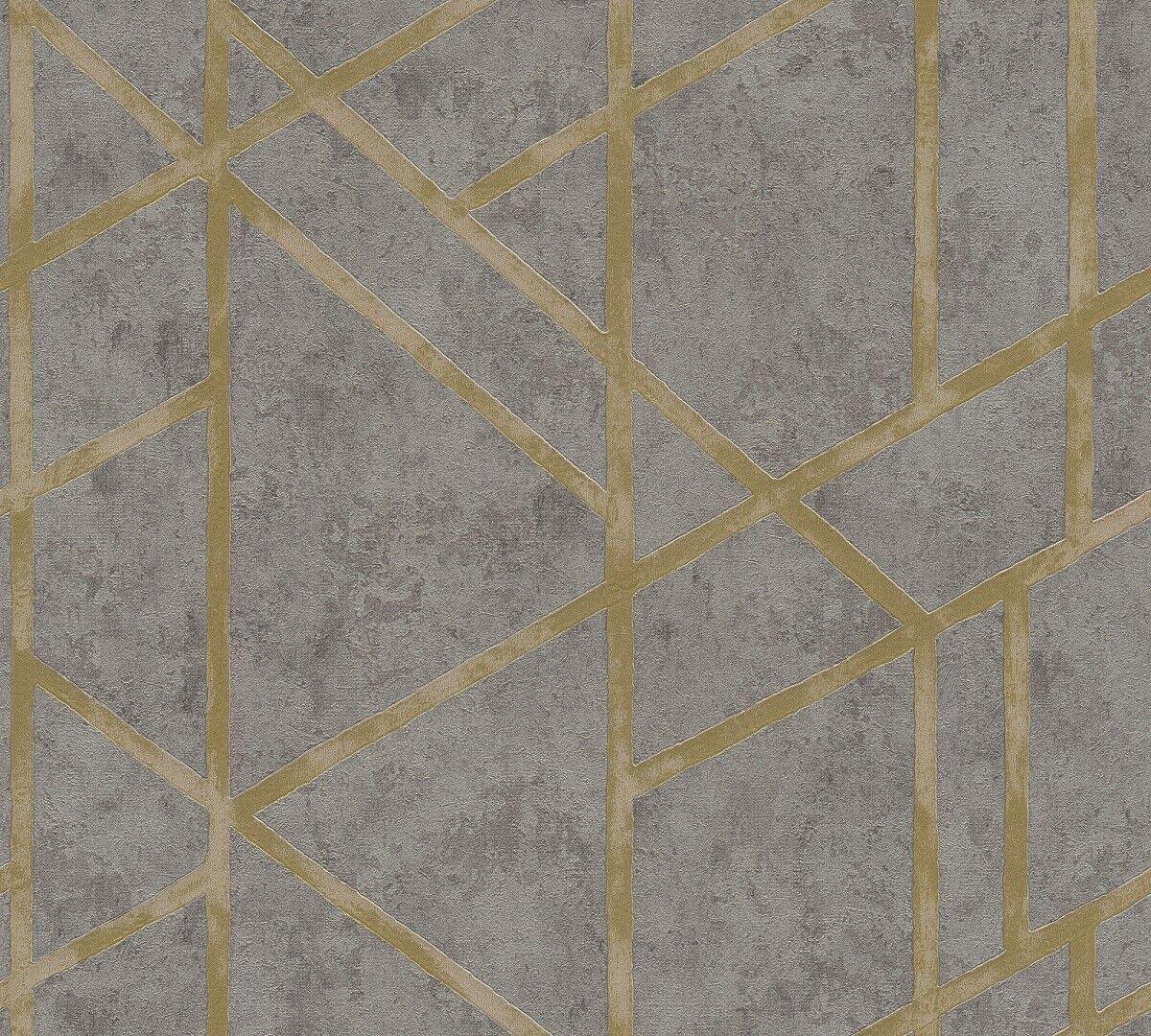Fabulous moderne Geometrische Stein Beton Muster Vliestapete grau gold AO25