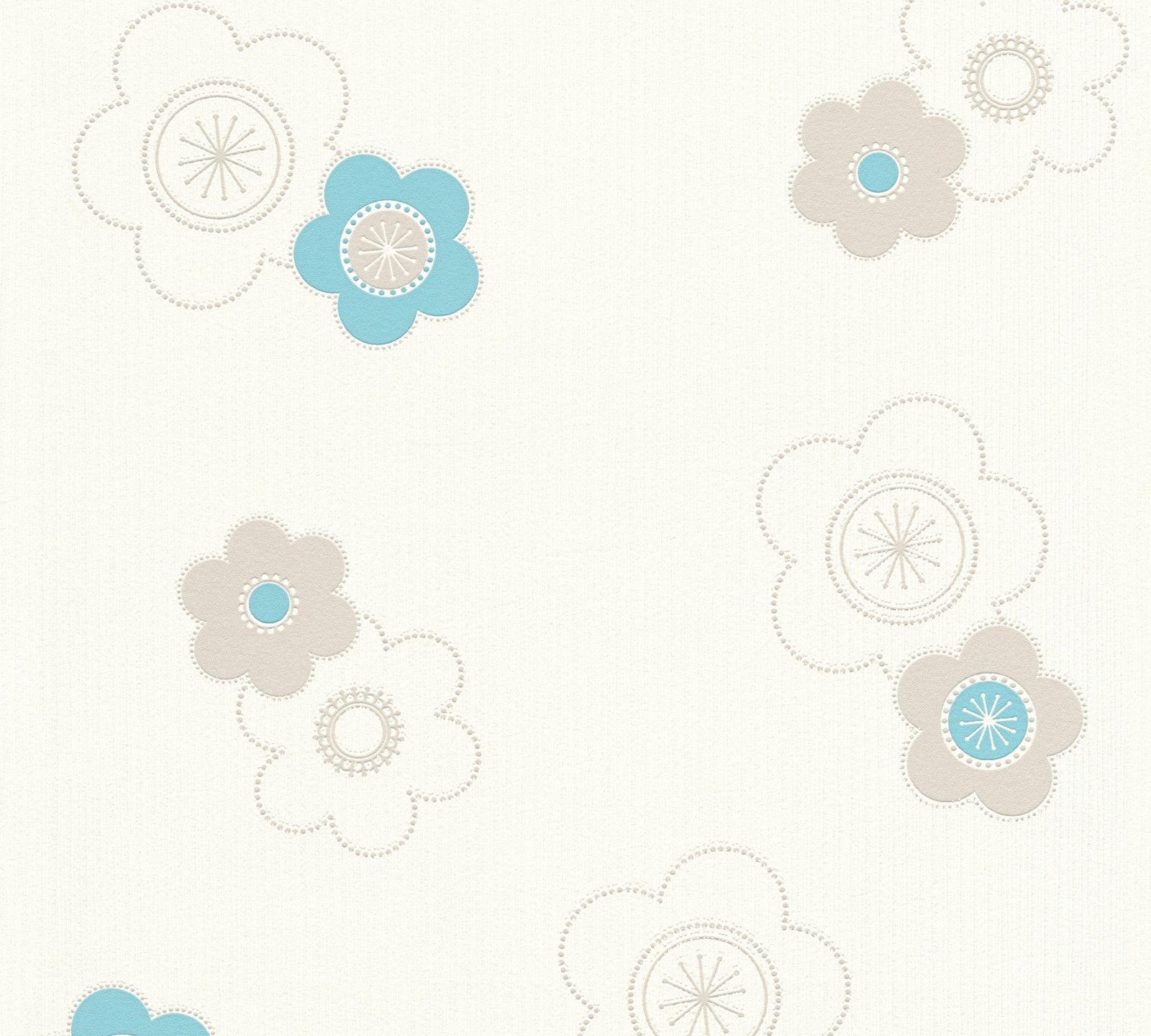 Vlies Tapete Retro Blumen Flower Power Creme Weiss Blau Turkis Grau