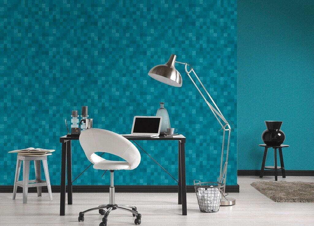 Vlies Tapete Kacheln Pixel Mosaik Wurfel Muster Turkis Blau California 36390 1 Kaufen Bei Joratrend E K