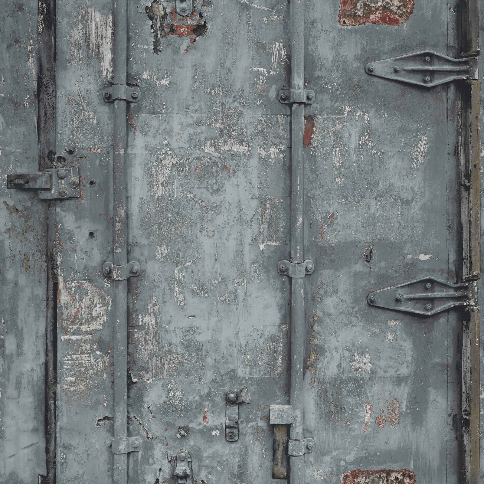 Vlies Tapete Stahl Container Optik Grau Verwittert Patina