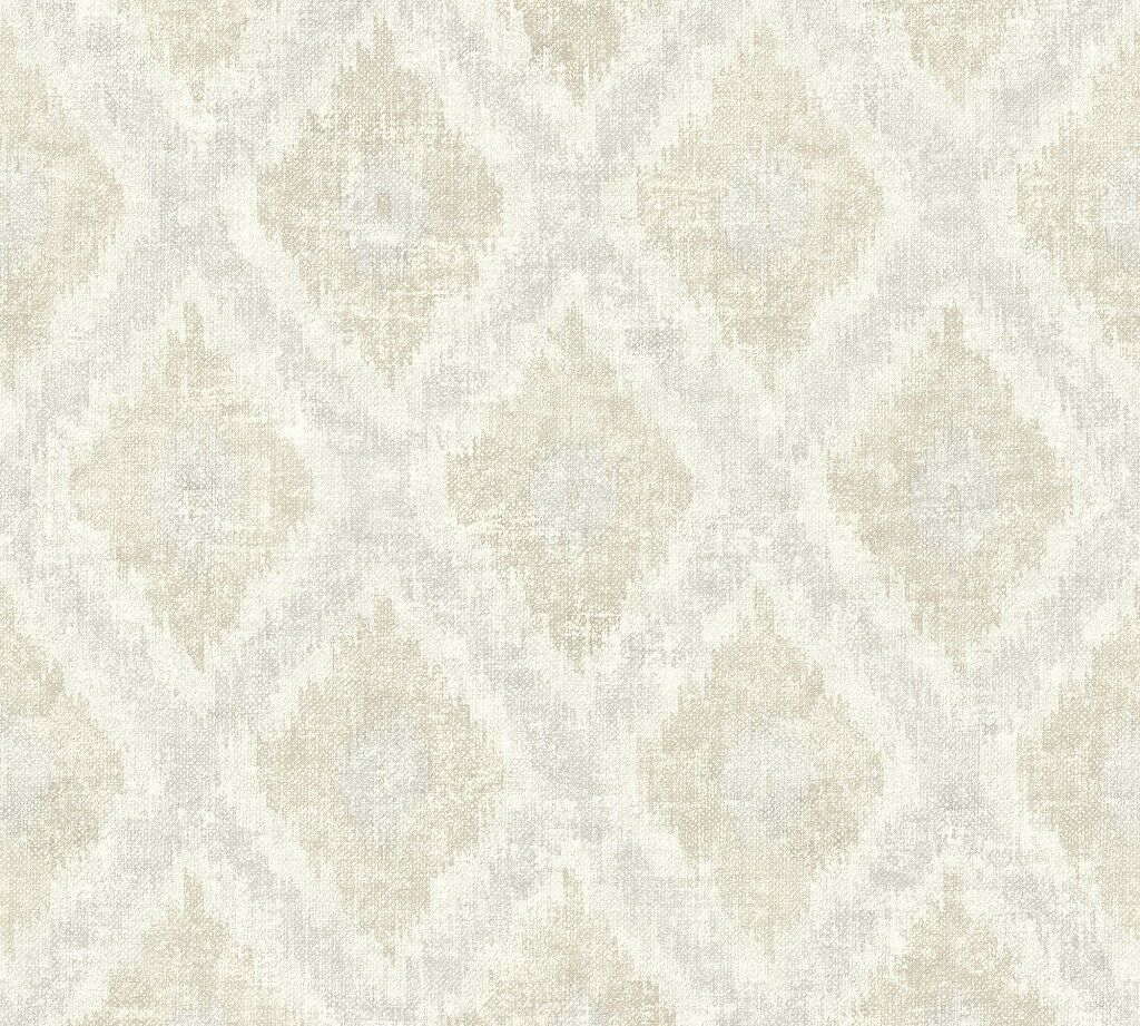 Tapete Grau Beige   Vlies Tapete Ethno Rauten Muster Textil Optik Grau Beige California