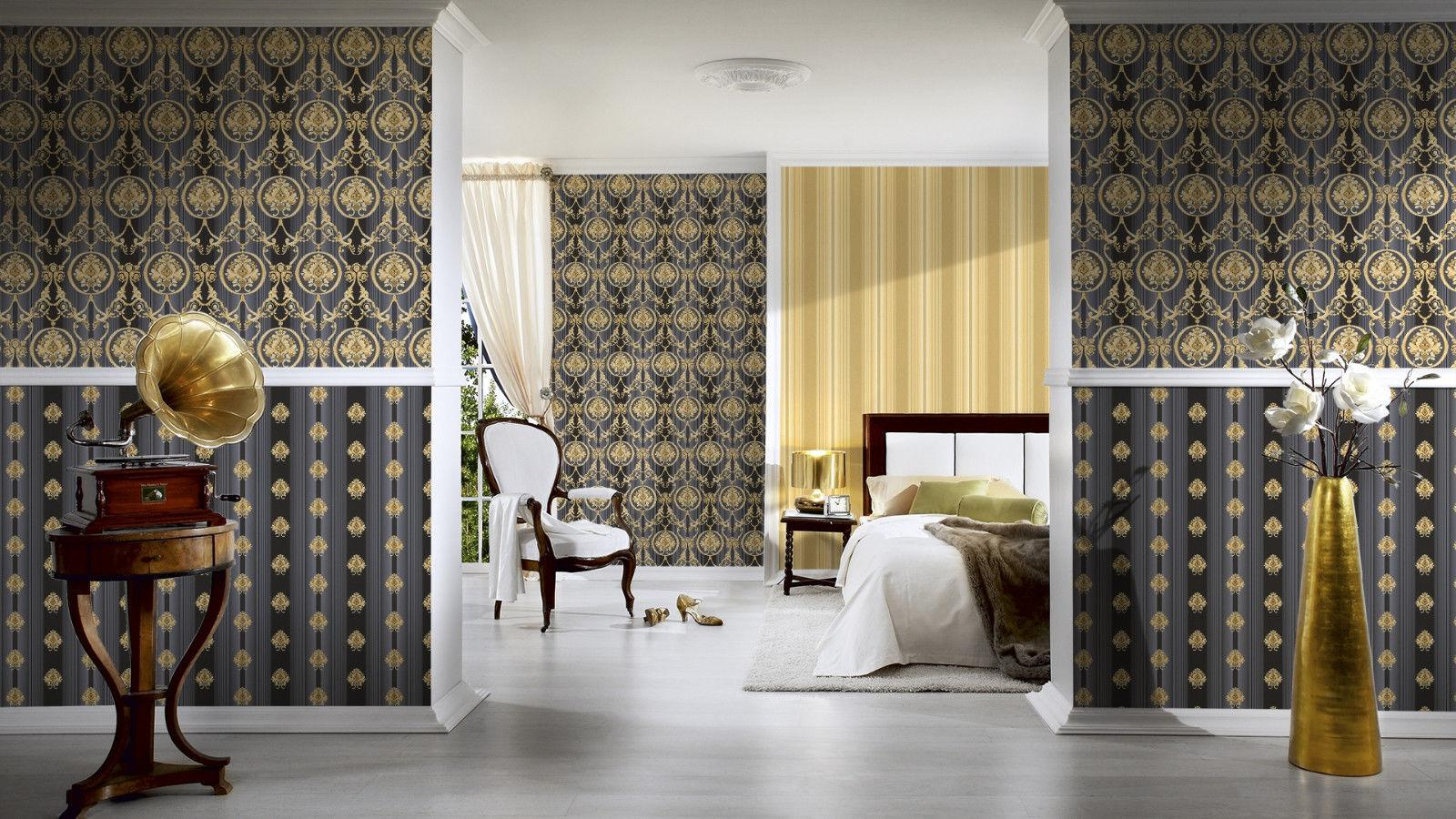 Luxus vlies tapete barock muster ornament schwarz gold for Tapete schwarz muster