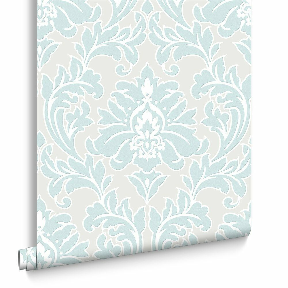 Vlies Tapete Barock Muster Ornament Metallic Effekt Mint Creme Weiß