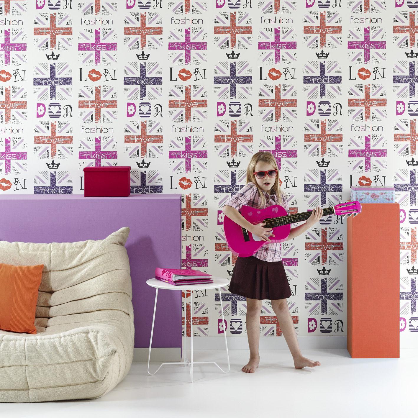 Vlies Tapete Fashion Style Jugend Zimmer Girls Tapete Weiss Turkis
